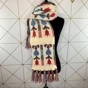 Cottagecore Flower & Fringe Pastel Knit Scarf